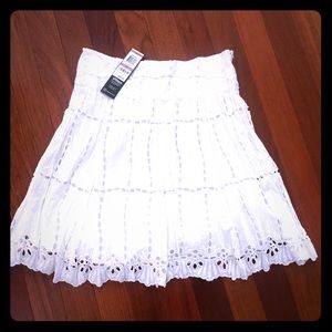 NWT INC white eyelet skirt size 12